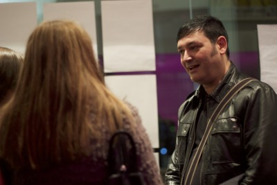 Director Gabe Crozier with guests at our launch event